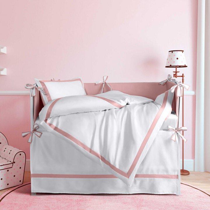 Комплект постельного белья в колыбель «Mia Rosa Classica» (цвет: молочный/нежно-розовый, сатин)