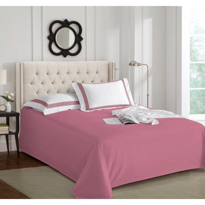 Простыня свободная «Sharmes» (цвет: темно-розовый; 180х240 см; сатин: 100% хлопок Pima)