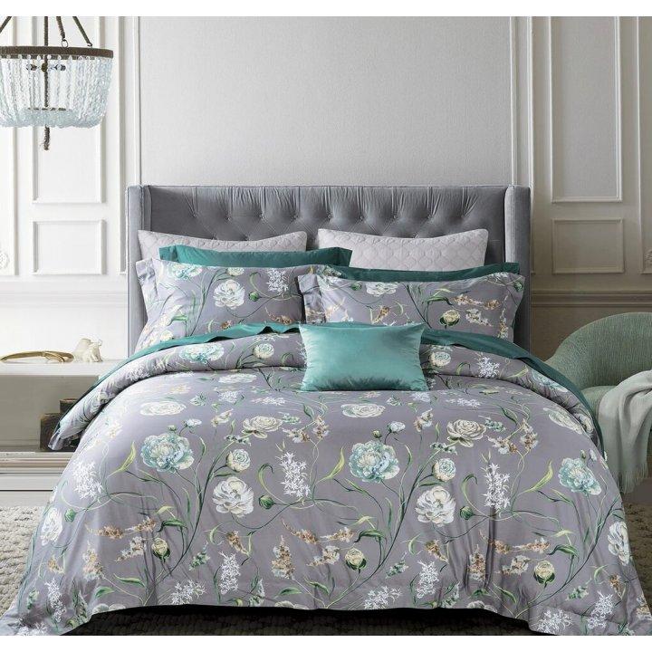 Комплект постельного белья «Lotte» (цвет: серый/изумруд, 1,5 - спальный, сатин)