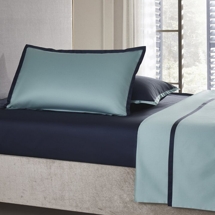 Наволочка «Coctail» (цвет: голубая бирюза/темно-синий, 50х75 см, сатин)
