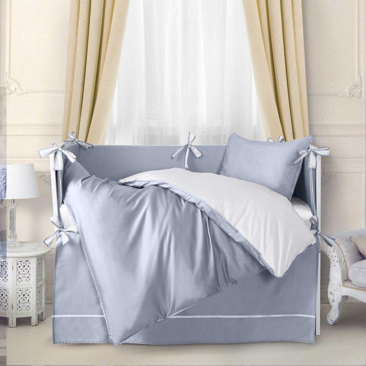 Комплект постельного белья в колыбель «Mia Azzurro Romantico» (цвет: жемчужно-серый/молочный, сатин)