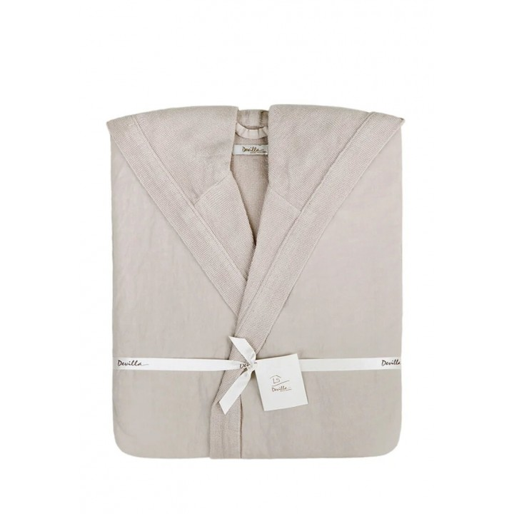 Халат махровый с капюшоном «Senses», цвет: мокко (размер XL (48-50); 50% хлопок / 50% лен)