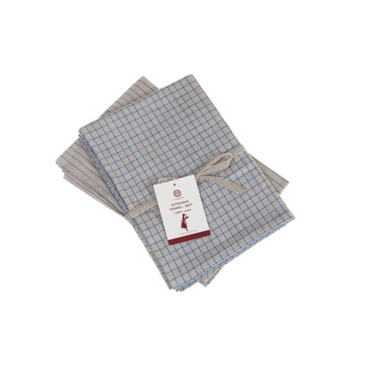 Комплект из 2 кухонных полотенец «Timeless mini» (цвет: натуральный/синий, 50x70 см - 2 шт.)