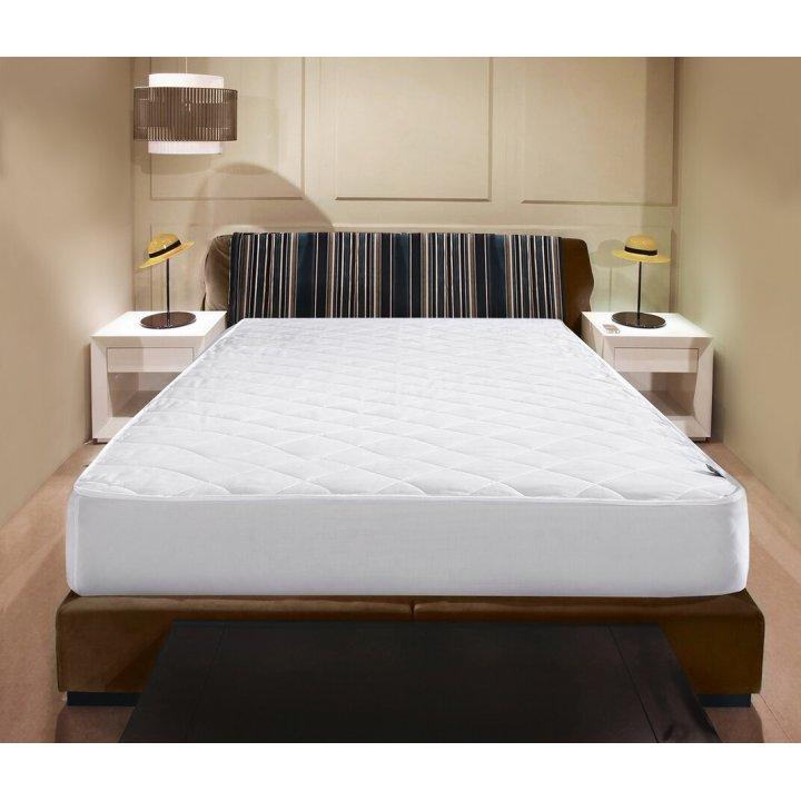 Наматрасник шелковый стеганый с юбкой на резинке «Comfort Premium» (160х200х30 см, наполнитель: 100% шелк; чехол: сатин, 100% хлопок; цвет: белый)