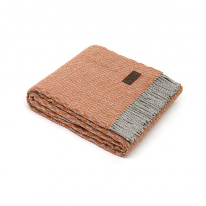 Плед шерстяной «GRIFONE 0002» (цвет: оранжевый, 130х200 см, шерсть/хлопок)