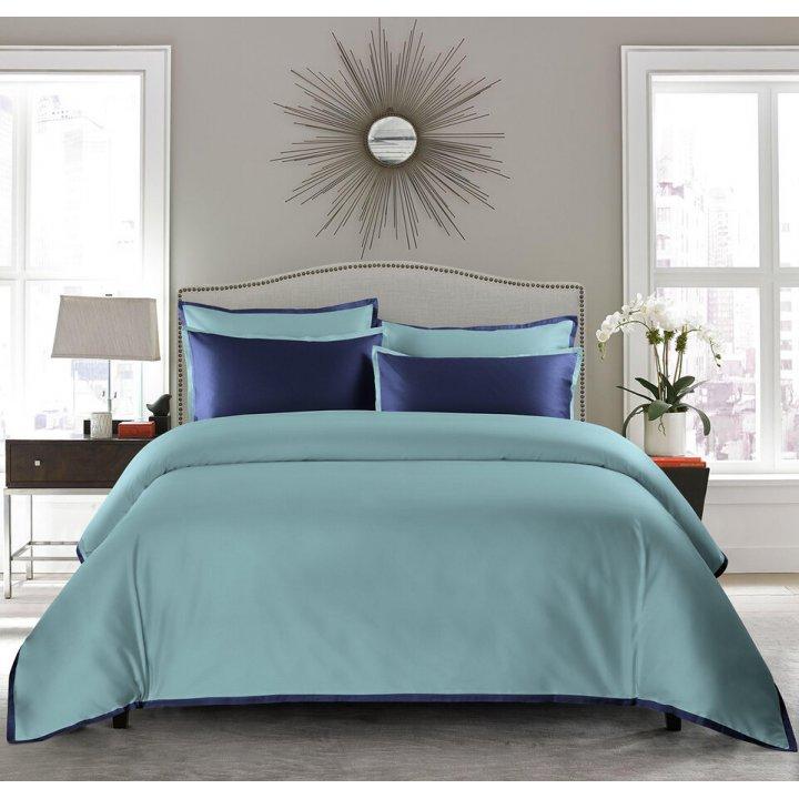 Пододеяльник «Coctail» (цвет: голубая бирюза/темно-синий, 200х220 см, сатин)
