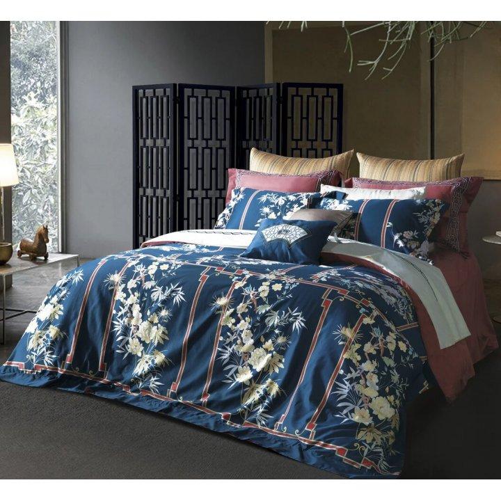 Комплект постельного белья «China Blue» (цвет: темно-синий/терракотовый, евро, сатин)