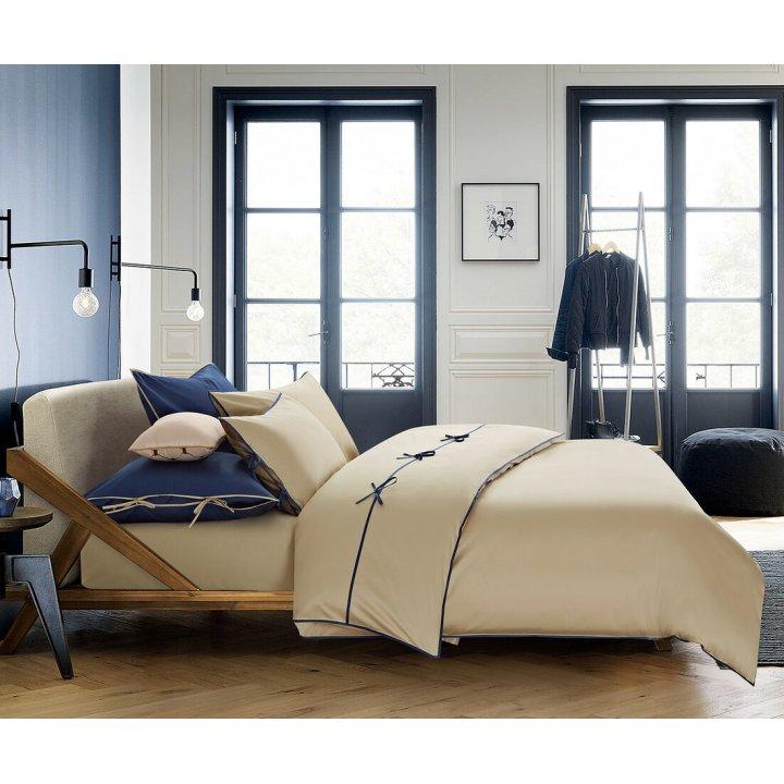 Пододеяльник «Luca» (цвет: серо-бежевый/темно-синий, 200х220 см, сатин)
