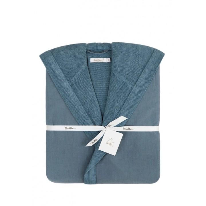 Халат махровый с капюшоном «Senses», цвет: индиго (размер XS (40-42); 50% хлопок / 50% лен)