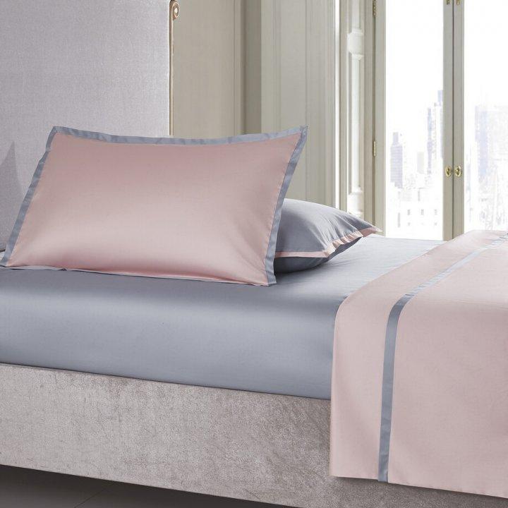 Наволочка «Coctail» (цвет: нежно-розовый/жемчужно-серый, 70х70 см, сатин)