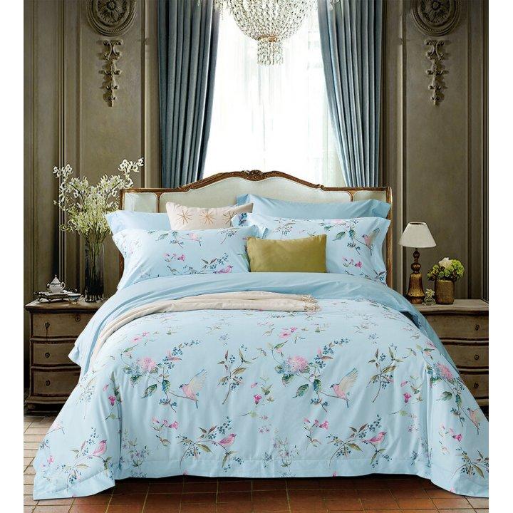 Комплект постельного белья «Adem Sky» (цвет: нежно-голубой, евро, сатин)