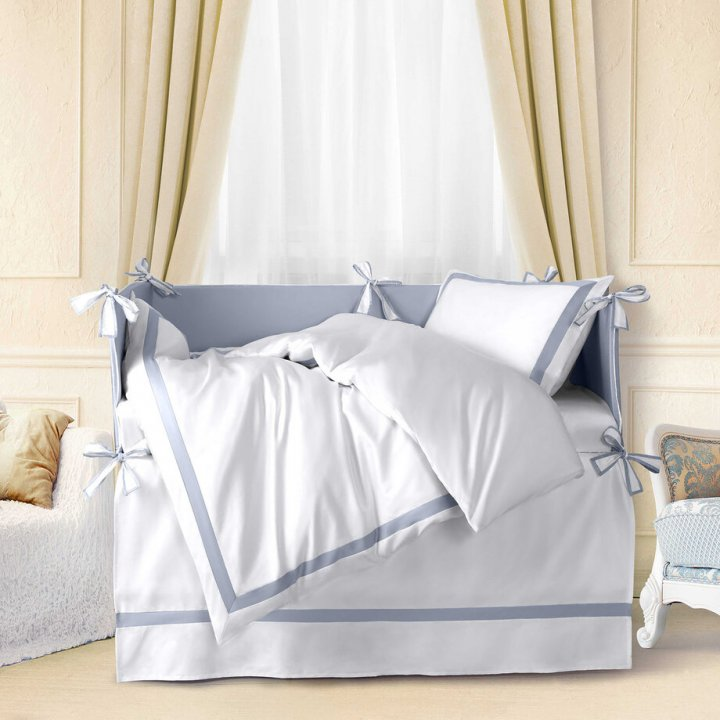 Комплект постельного белья в колыбель «Mia Azzurro Classico» (цвет: молочный/жемчужно-серый, сатин)