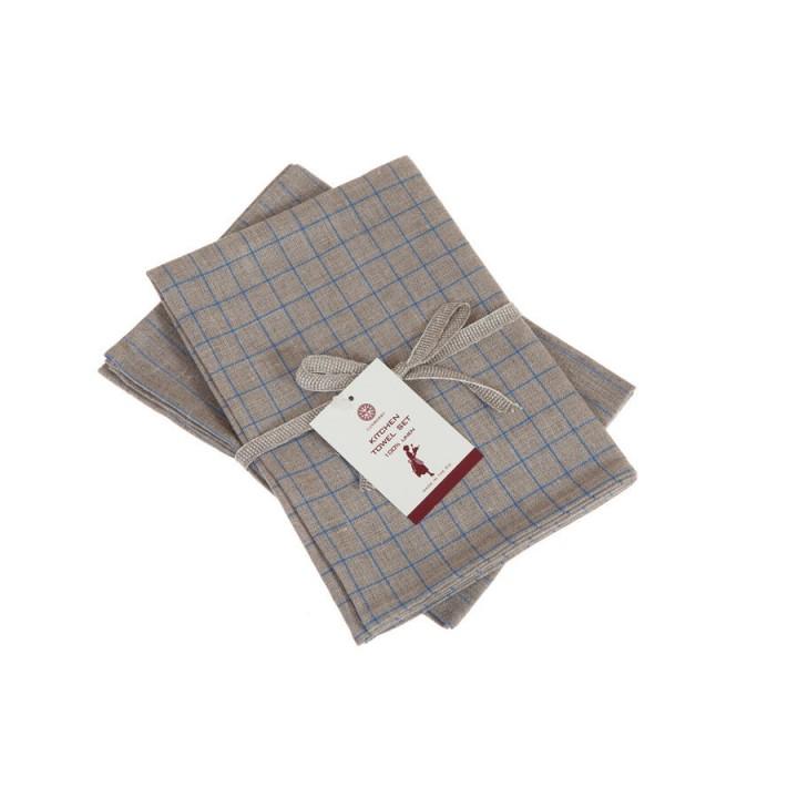 Комплект из 2 кухонных полотенец «Timeless maxi» (цвет: натуральный/синий, 50x70 см - 2 шт.)