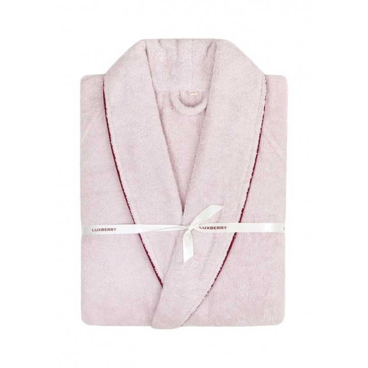Халат махровый «Basic» (цвет: розовая пудра/бордо; размер XL (48-50); махра: 100% хлопок)