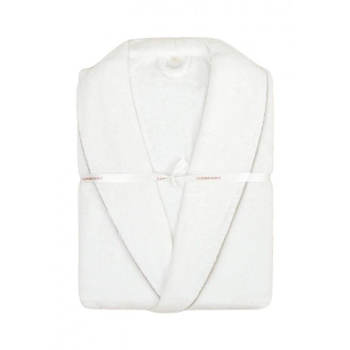 Халат махровый «Basic» (цвет: белый/натуральный; размер L (46-48); махра: 100% хлопок)