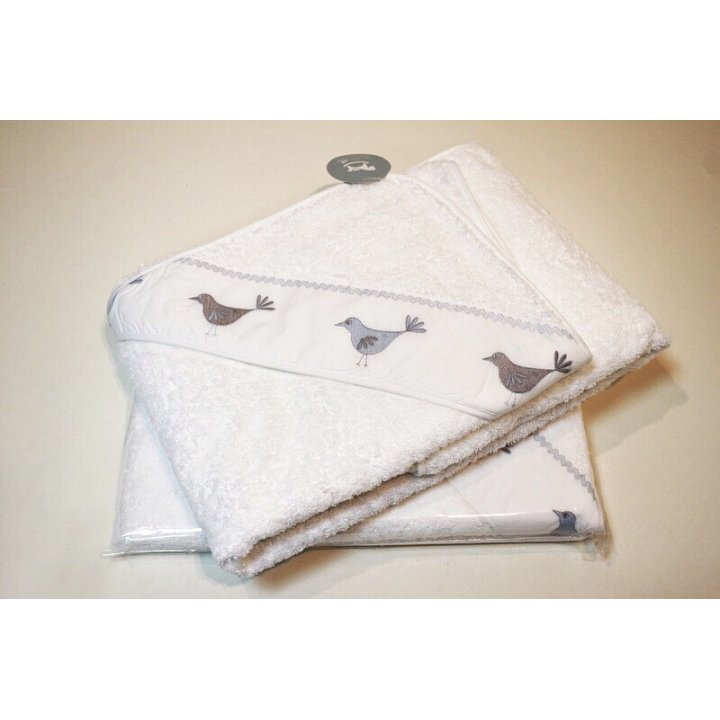 Полотенце с капюшоном «Птички» (цвет: белый/голубой, 100х100 см, махра)