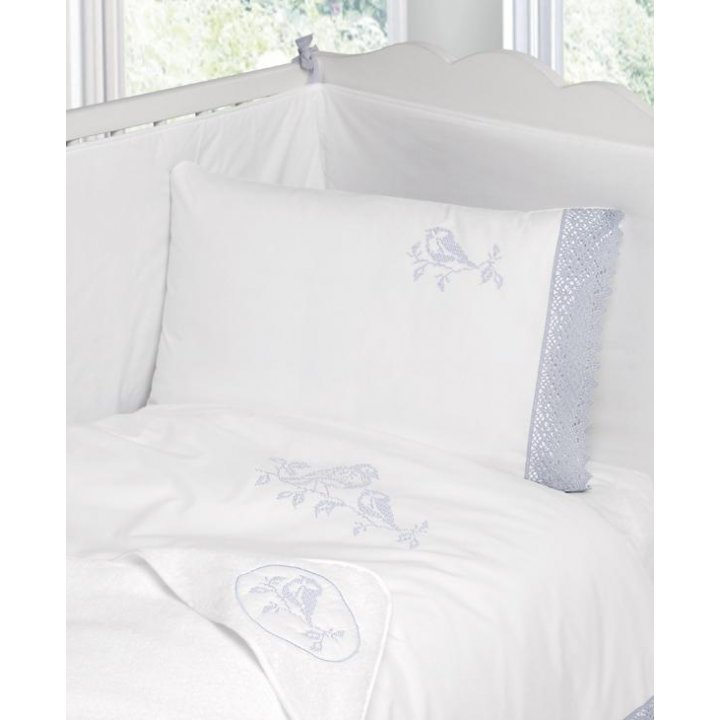 Полотенце с капюшоном «Синички» (цвет: белый/голубой, 100х100 см, махра)