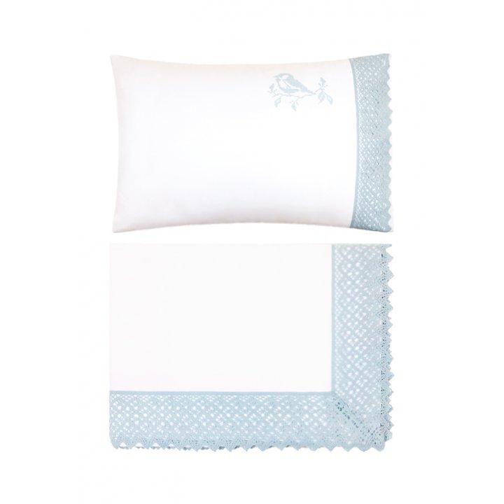 Комплект постельного белья в колыбель «Синички» (цвет: белый/голубой, перкаль)