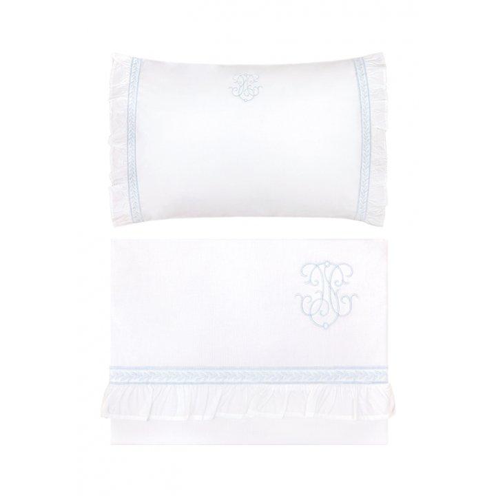 Комплект постельного белья в колыбель «Вензель» (цвет: белый/голубой, перкаль)