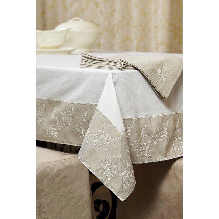 Скатерть «Сантолина» с вышивкой, цвет: белый/льняной (140х140 см; лен 50%, хлопок 50%)