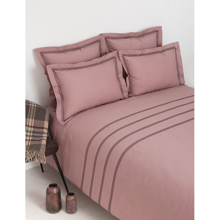 Комплект постельного белья «Акцент» (цвет: карминово-розовый, евро, перкаль)