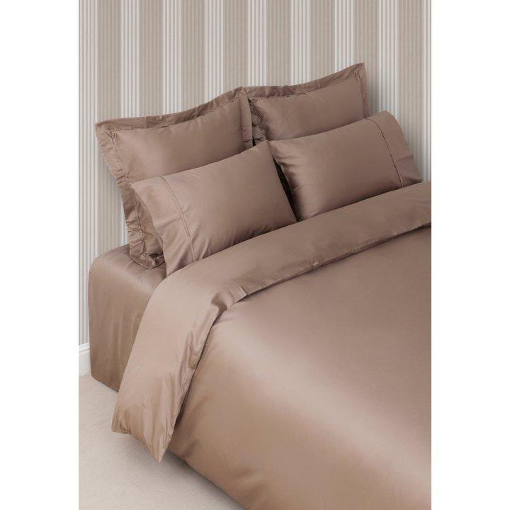 Комплект постельного белья «Basic» (цвет: капучино; евро; сатин: 100% хлопок)