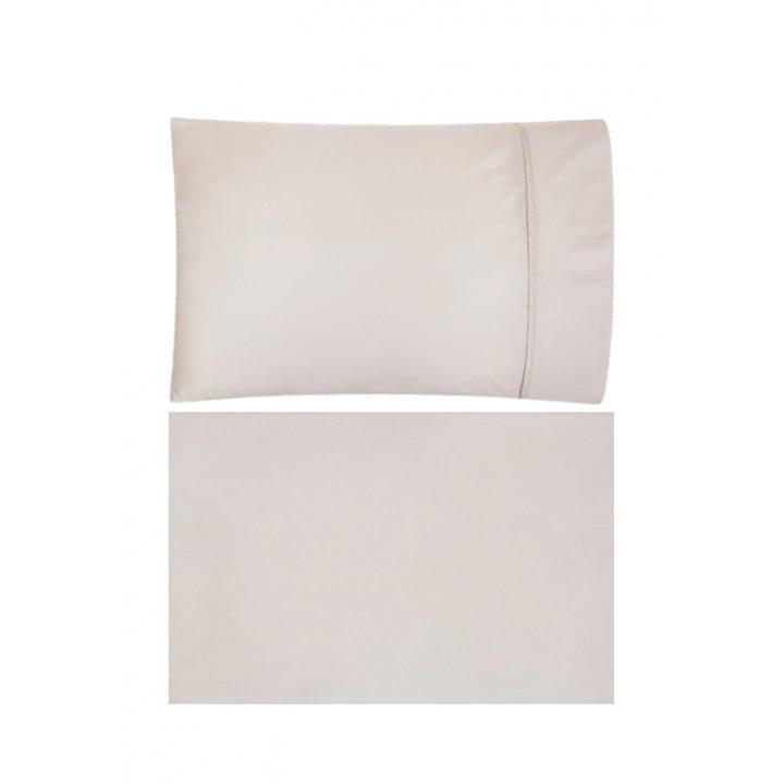 Комплект постельного белья «Basic» (цвет: песочный; евро; сатин: 100% хлопок)