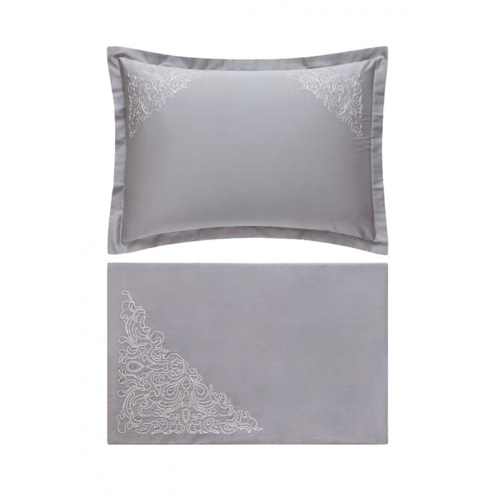 Комплект постельного белья «Castello» (цвет: серый; евро; сатин: 100% хлопок)