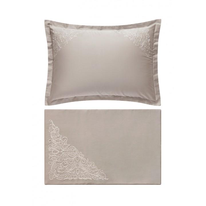 Комплект постельного белья «Castello» (цвет: серо-бежевый; 1,5 - спальный; сатин: 100% хлопок)
