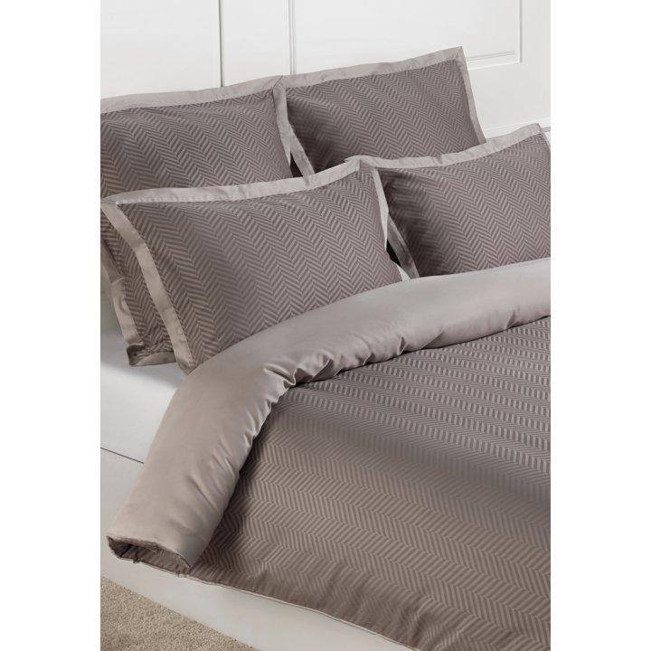 Комплект постельного белья «Harrods» (цвет: коричневый/серо-бежевый, 1,5 - спальный, сатин-жаккард)