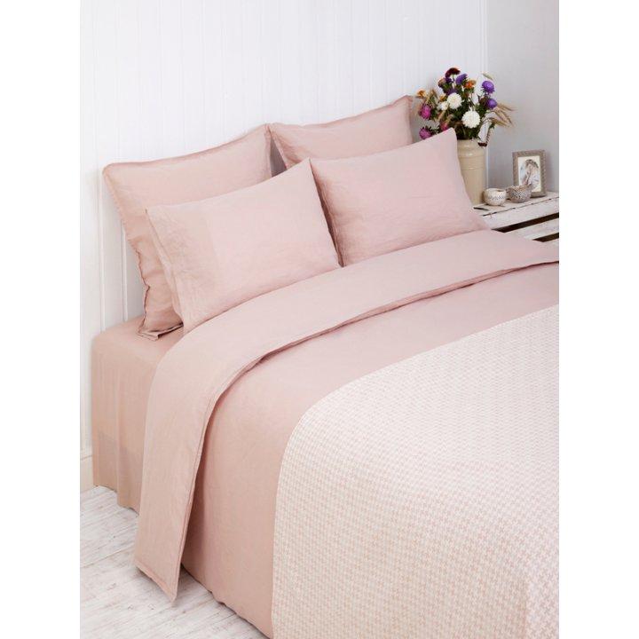 Комплект постельного белья «Linen» (цвет: розовый, евро, лен-хлопок Stonewashed)