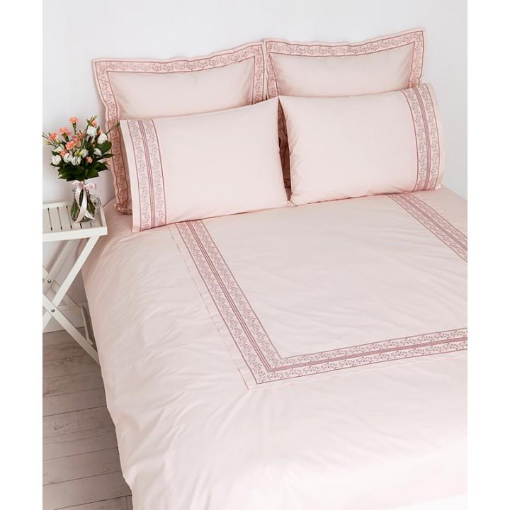 Комплект постельного белья «Osaka» (цвет: нежно-розовый; евро; перкаль: 100% хлопок)