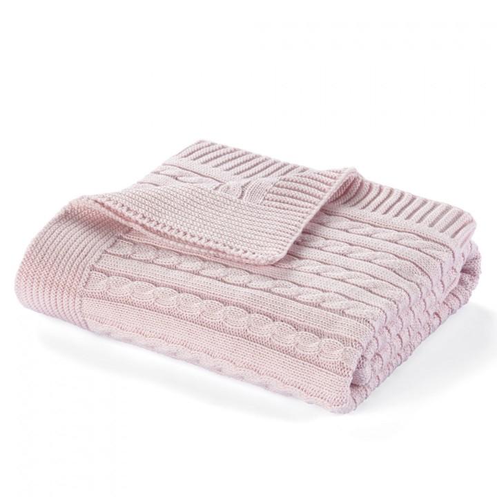 Плед вязаный детский «Elie» (цвет: розовый; 90х90 см; 100% длинноволокнистый хлопок)