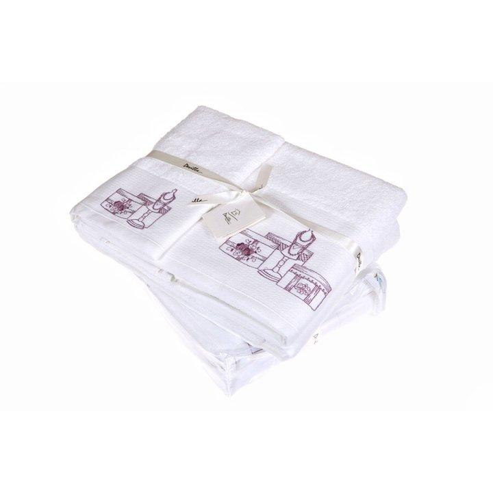 Комплект «Haute Couture» из 3 полотенец (цвет: белый/сиреневый, 30х50 см (1), 50х100 см (1), 70х140 см (1), махра)