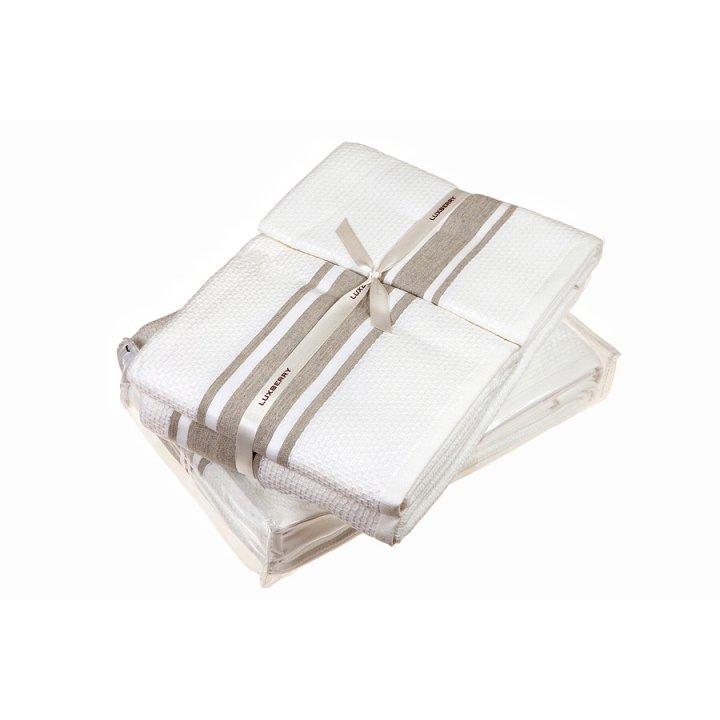 Полотенце «Honey» (цвет: белый/лен, 50x100 см, махра/вафельное)