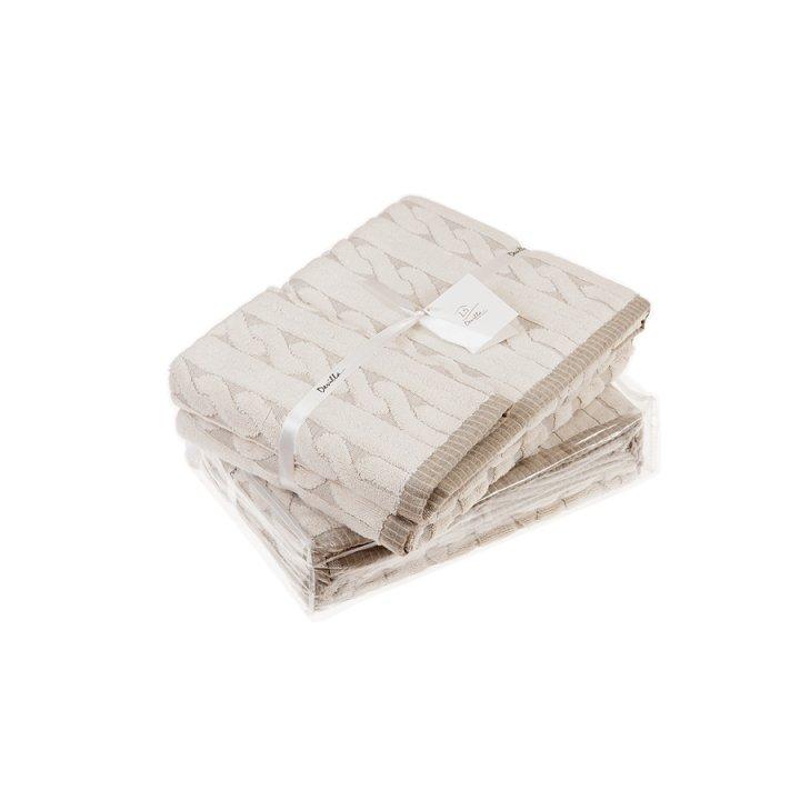 Полотенце махровое «Imperio», цвет: натуральный (70х140 см; жаккардовая махра: 83% хлопок, 17% лен)