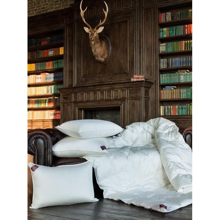 Одеяло пуховое кассетное теплое «Luxe Down Grass» (220х240 см; наполнитель: 100% белый гусиный пух; чехол: сатин, 60% тенсель, 40% хлопок)