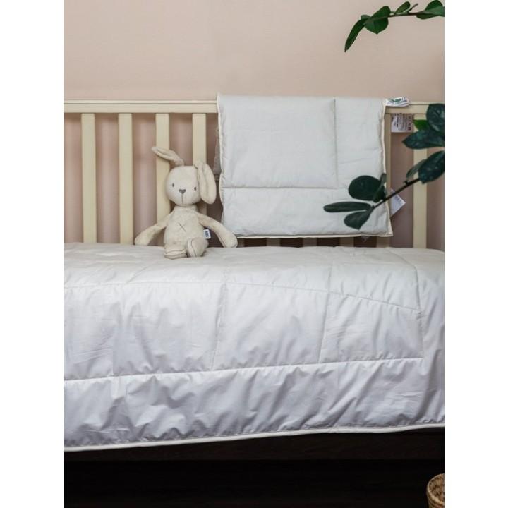 Комплект одеяло и подушка детские «Baby Organic Linen Grass» (100х135 см (1), 40х60 см (1); наполнитель: 50% хлопковое волокно, 50% льняное волокно; чехол: батист, 100% органический хлопок)