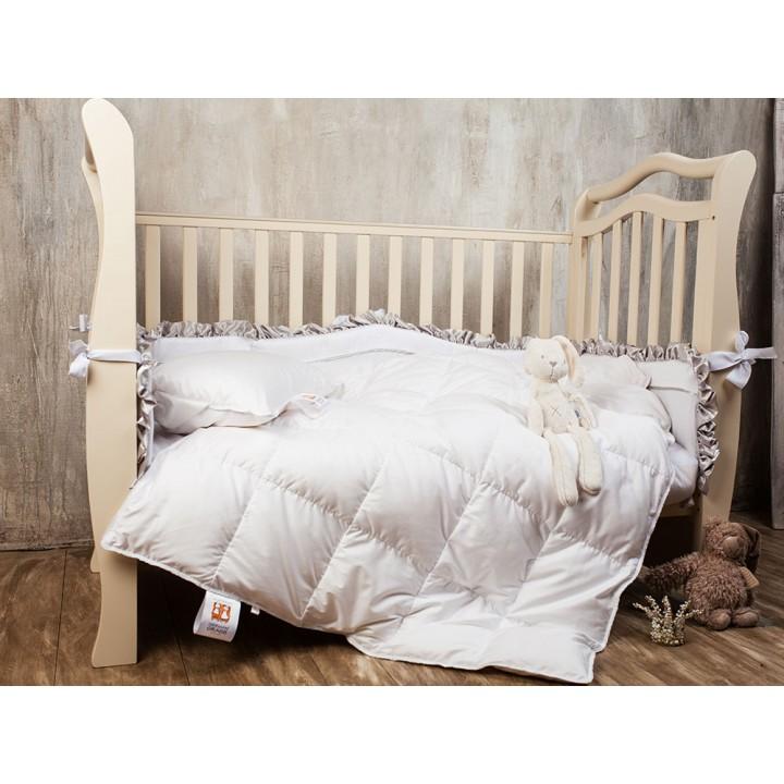 Комплект одеяло и подушка детские пуховые «Baby Snow Grass» (100х135 см (1), 40х60 см (1); наполнитель: 100% белый гусиный пух; чехол: батист, 100% хлопок; цвет: белый)