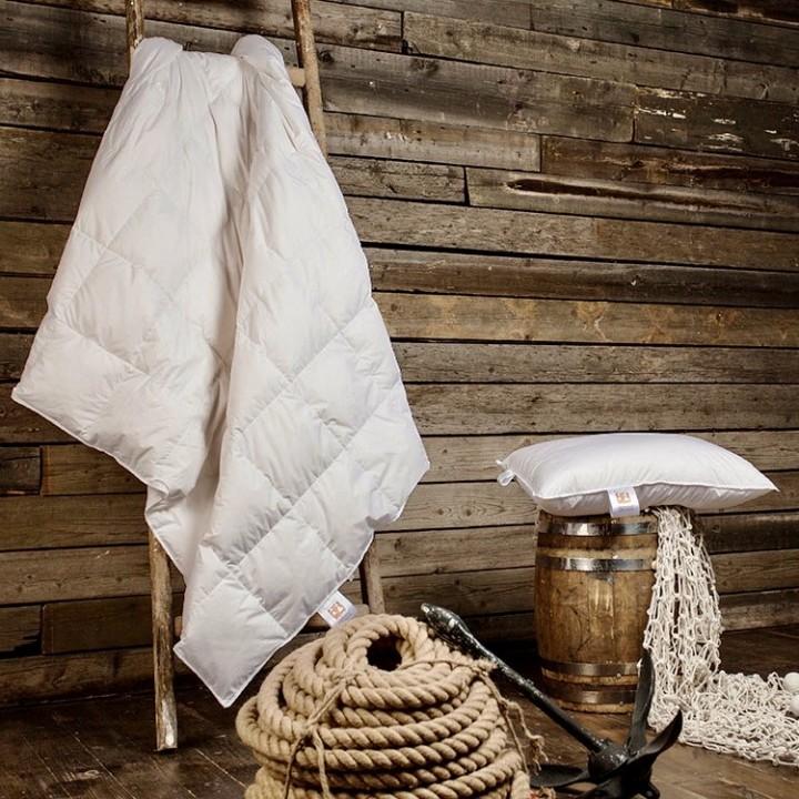 Одеяло детское пуховое кассетное всесезонное «Kinder Snow Grass» (150х200 см; наполнитель: 100% белый гусиный пух; чехол: батист, 100% хлопок; цвет: белый)