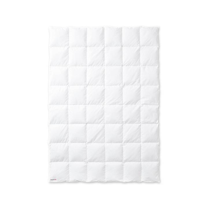 Одеяло пуховое стеганное всесезонное «True Legend 650 medium» (155х200 см; наполнитель: пух белый гусиный 90%, мелкое перо 10%; чехол: мако-батист, хлопок 100%; цвет: белый)