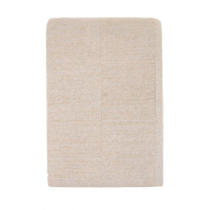 Плед вязаный шерстяной «Gold» (цвет: бежевый/золотой; 130х170 см; 80% овечья шерсть, 20% полиамид)