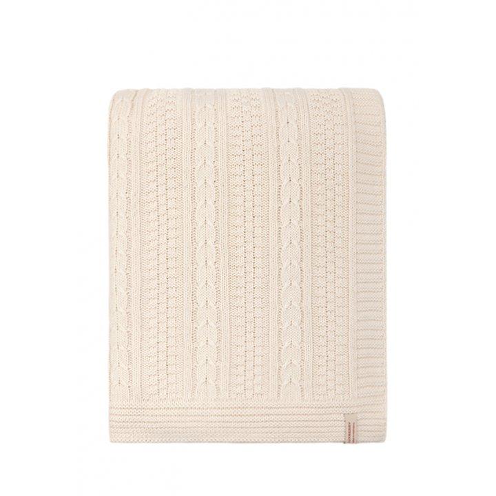 Плед вязаный хлопковый «Imperio №10» (цвет: экрю; 150х200 см; 100% хлопок)