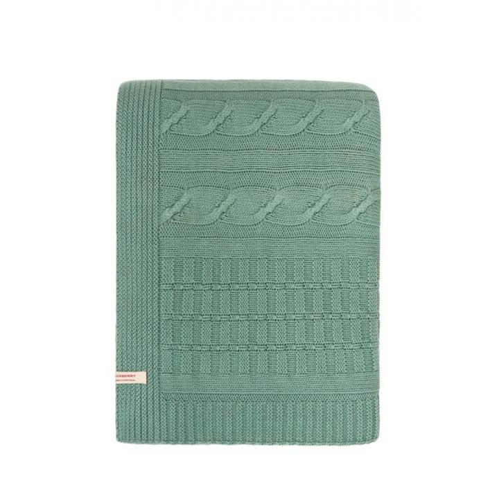 Плед вязаный хлопковый «Imperio №233» (цвет: зеленый бархат; 150х200 см; 100% хлопок)
