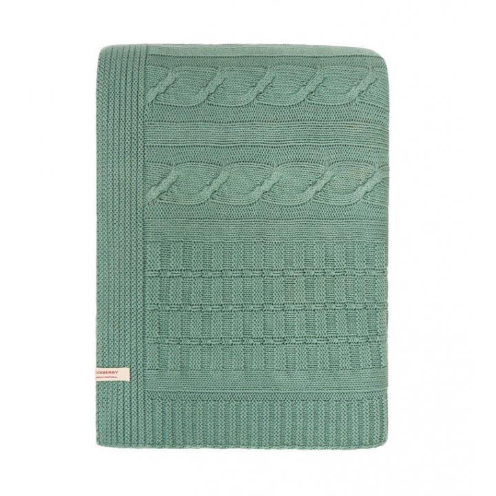 Плед вязаный хлопковый «Imperio №233» (цвет: зеленый бархат; 200х220 см; 100% хлопок)