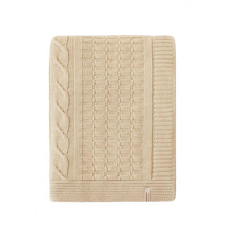 Плед вязаный хлопковый «Imperio №233» (цвет: золотой песок; 200х220 см; 100% хлопок)