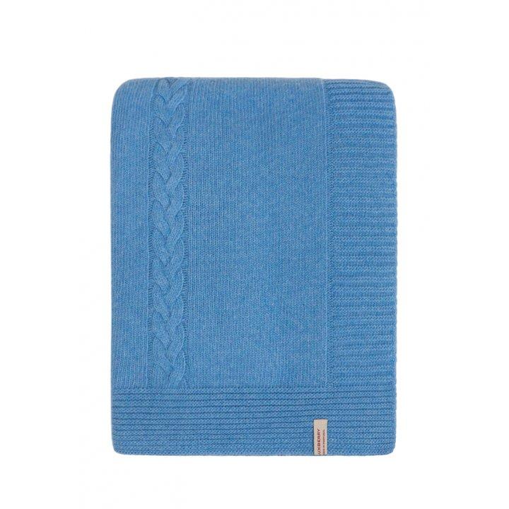 Плед вязаный шерстяной «Imperio №239» (цвет: синий; 150х200 см; 80% овечья шерсть, 20% полиамид)