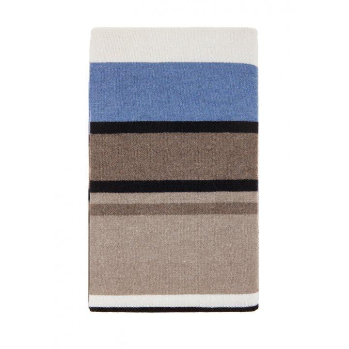 Плед вязаный шерстяной «Imperio №82» (цвет: бежевый/синий; 150х200 см; 80% овечья шерсть, 20% полиамид)