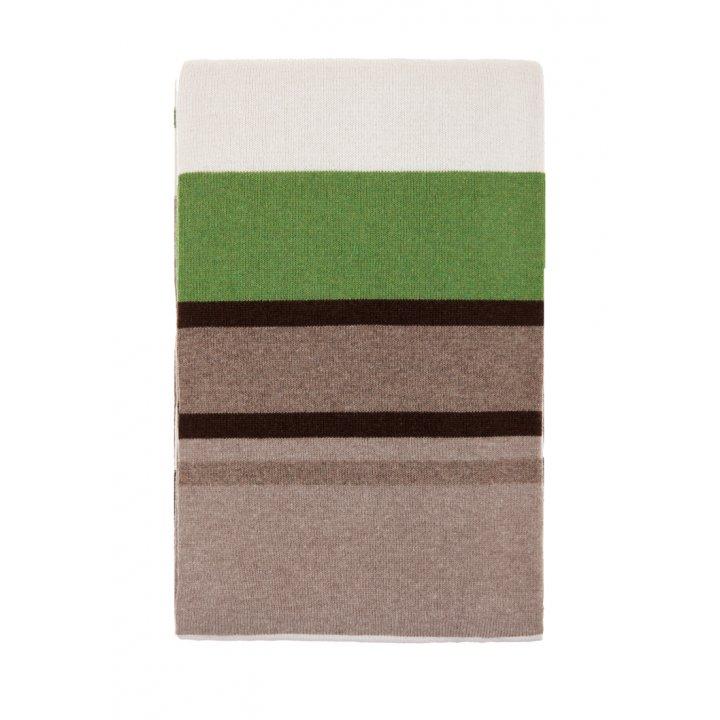 Плед вязаный шерстяной «Imperio №82» (цвет: бежевый/зеленый; 150х200 см; 80% овечья шерсть, 20% полиамид)