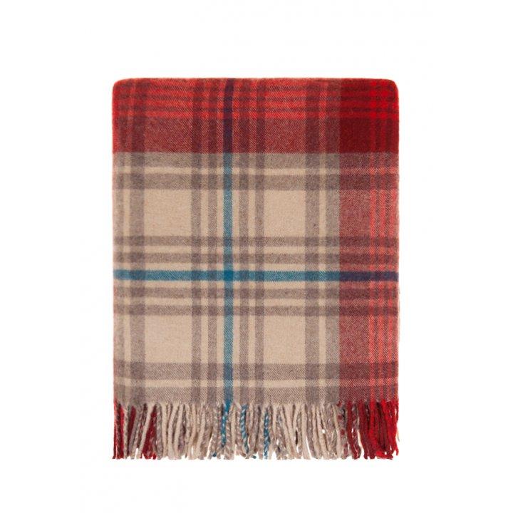 Плед шерстяной дорожный «Lux №32» (цвет: бежевый/красный/индиго; 130х170 см; 80% овечья шерсть, 20% полиамид)